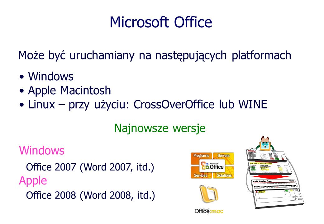 Microsoft Office Może być uruchamiany na następujących platformach