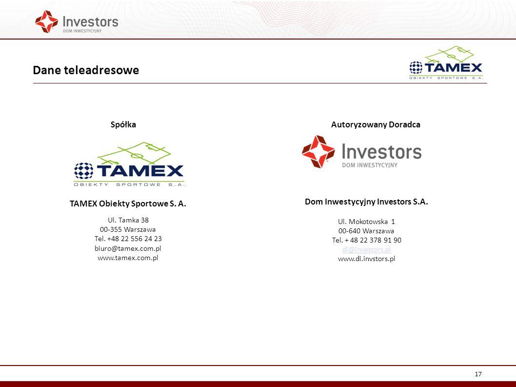 TAMEX Obiekty Sportowe S. A. Dom Inwestycyjny Investors S.A.