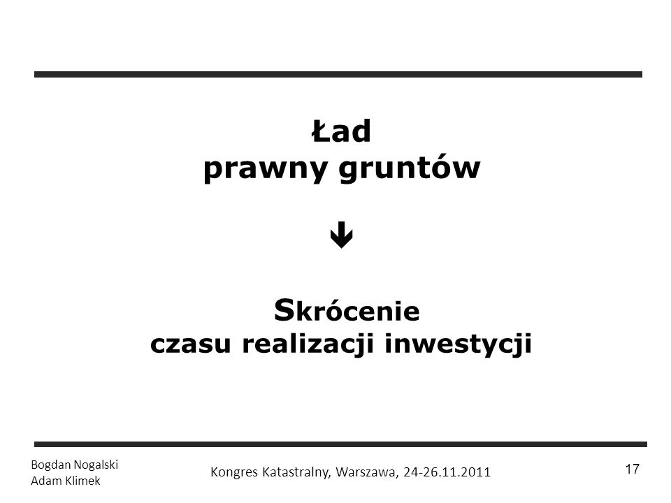 Ład prawny gruntów  Skrócenie czasu realizacji inwestycji