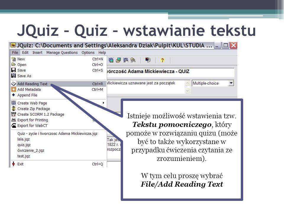 JQuiz – Quiz – wstawianie tekstu