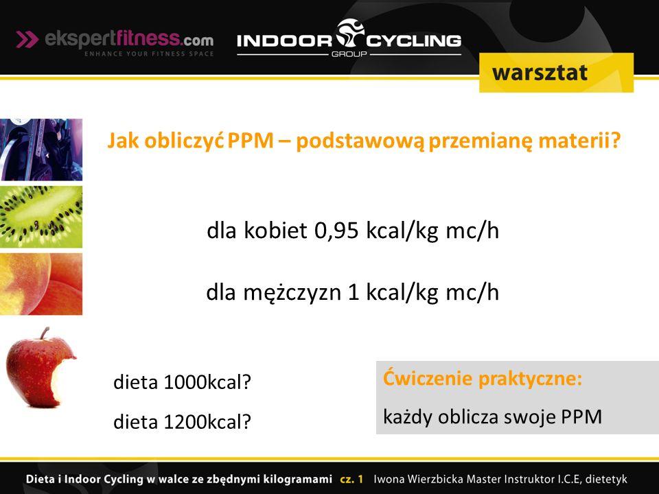 dla kobiet 0,95 kcal/kg mc/h dla mężczyzn 1 kcal/kg mc/h