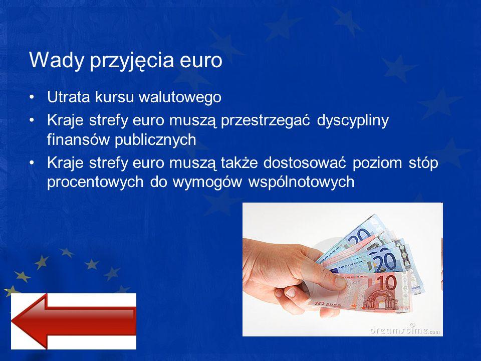 Wady przyjęcia euro Utrata kursu walutowego