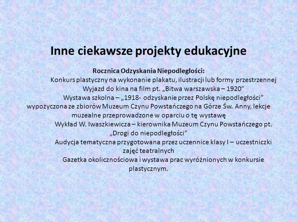 Inne ciekawsze projekty edukacyjne Rocznica Odzyskania Niepodległości:
