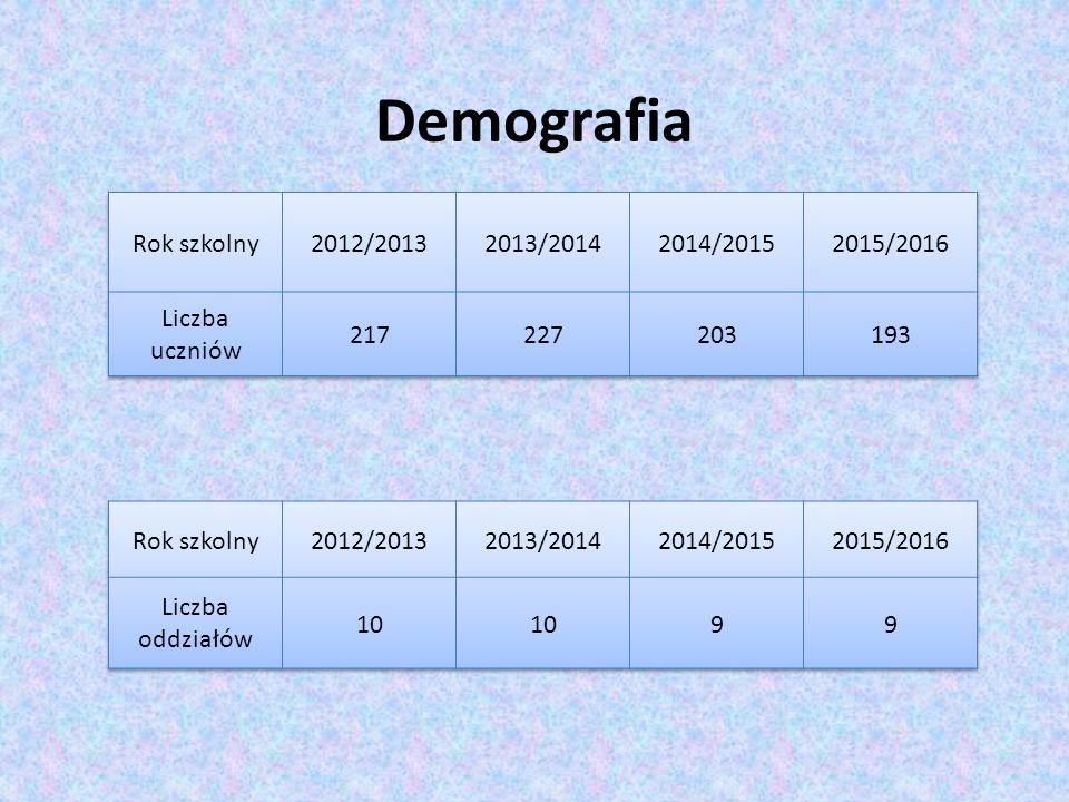 Demografia Rok szkolny 2012/2013 2013/2014 2014/2015 2015/2016