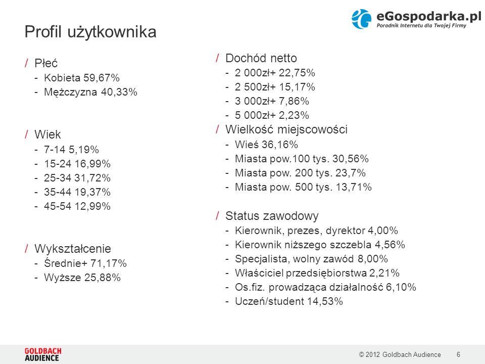 Profil użytkownika Dochód netto Płeć Wielkość miejscowości Wiek