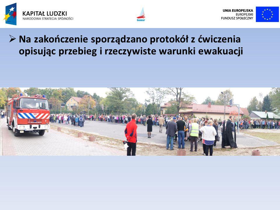 Na zakończenie sporządzano protokół z ćwiczenia opisując przebieg i rzeczywiste warunki ewakuacji