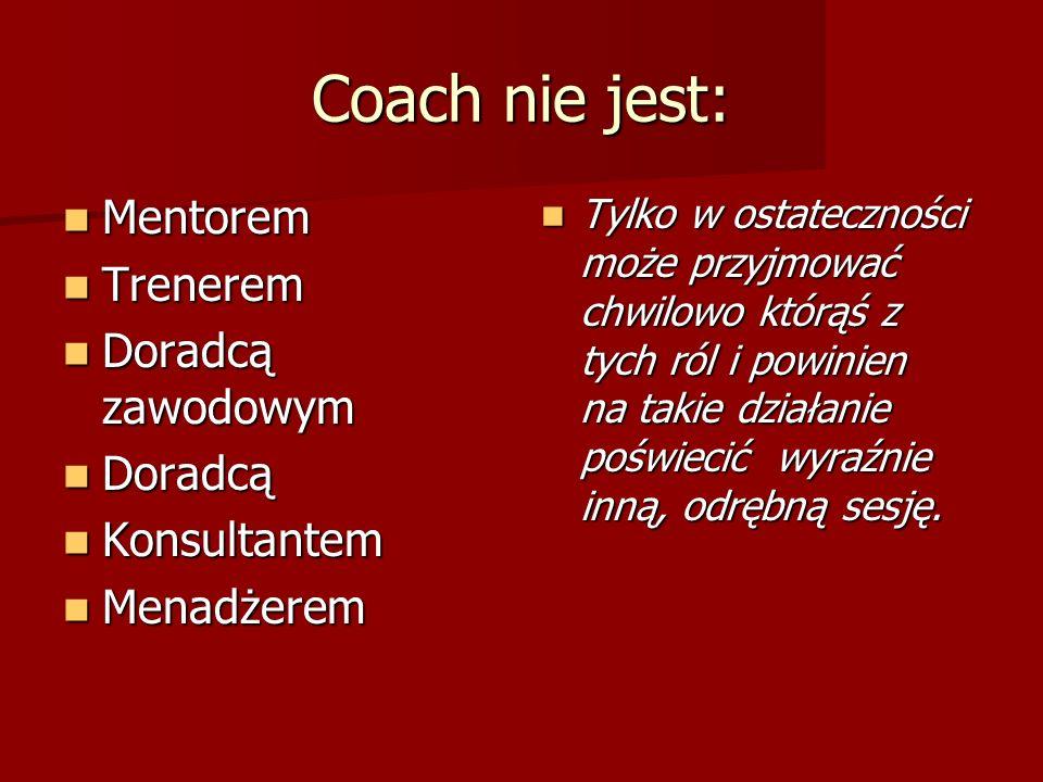 Coach nie jest: Mentorem Trenerem Doradcą zawodowym Doradcą
