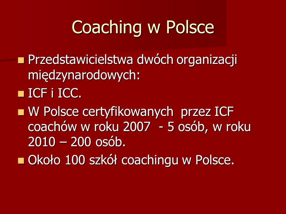 Coaching w Polsce Przedstawicielstwa dwóch organizacji międzynarodowych: ICF i ICC.