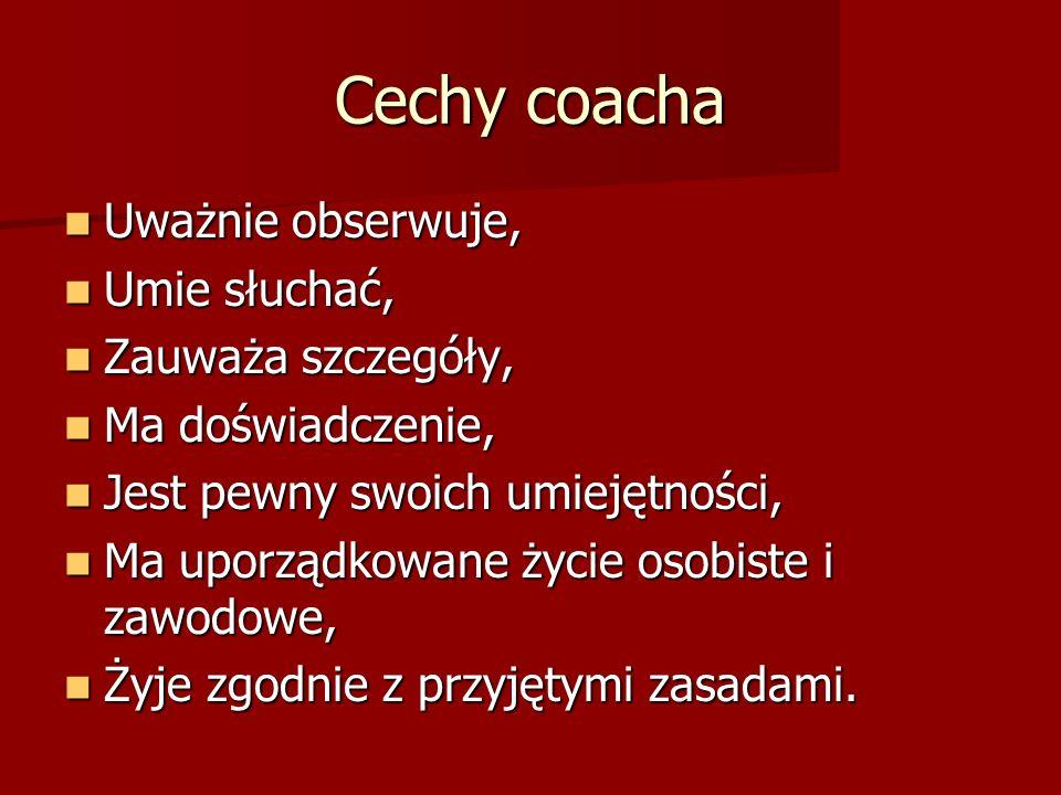 Cechy coacha Uważnie obserwuje, Umie słuchać, Zauważa szczegóły,
