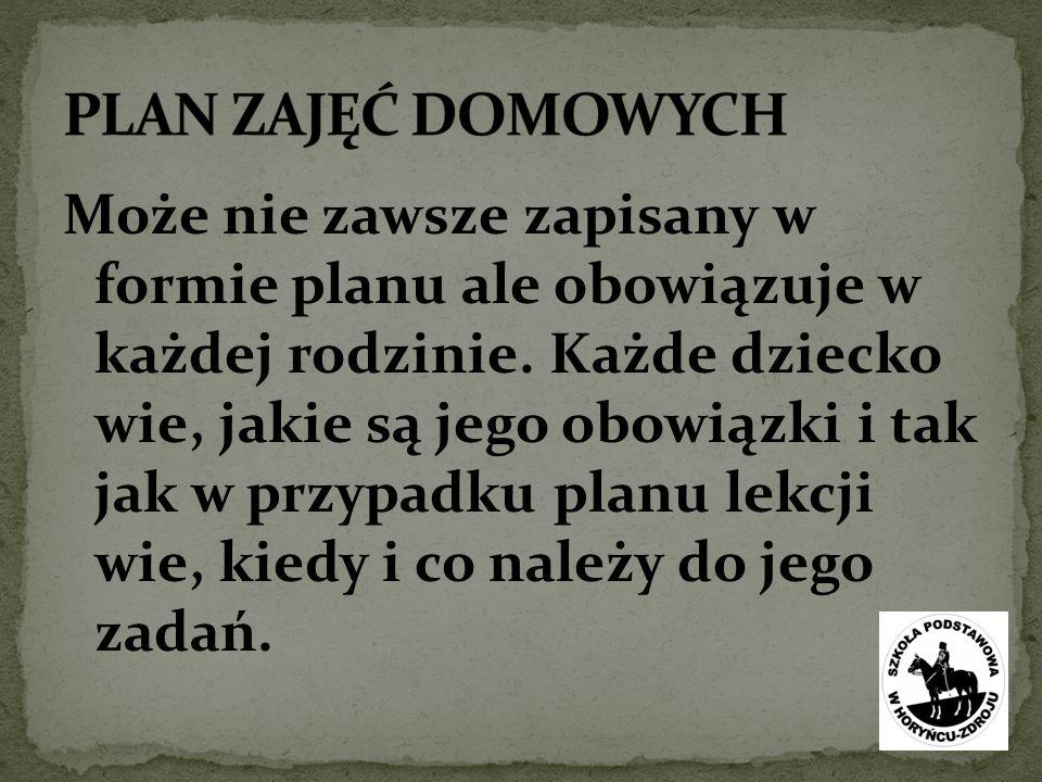 PLAN ZAJĘĆ DOMOWYCH