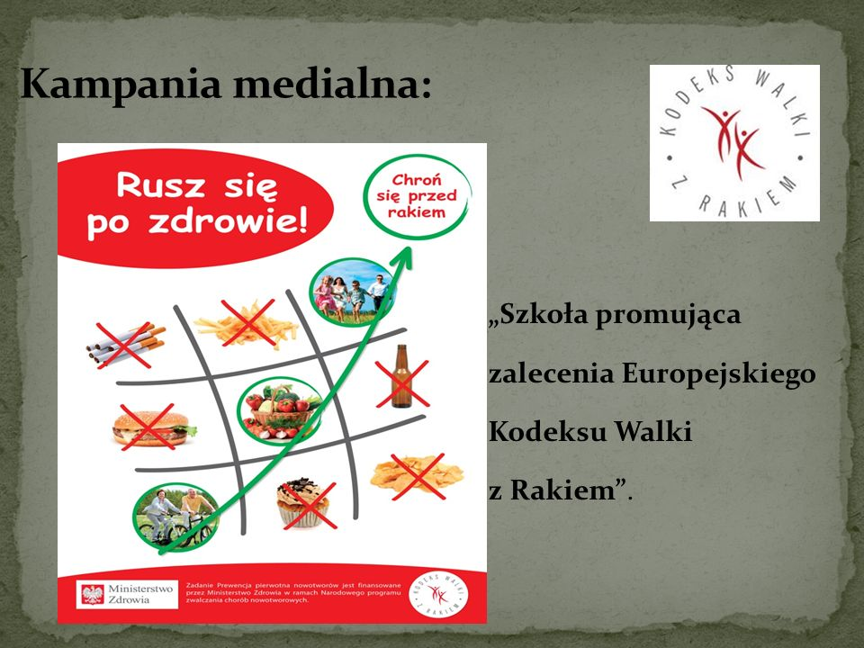 """Kampania medialna: """"Szkoła promująca zalecenia Europejskiego Kodeksu Walki z Rakiem ."""