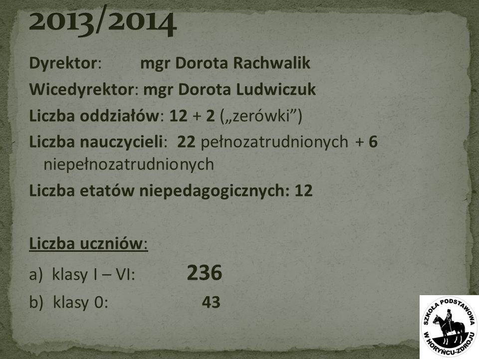 2013/2014 Dyrektor: mgr Dorota Rachwalik