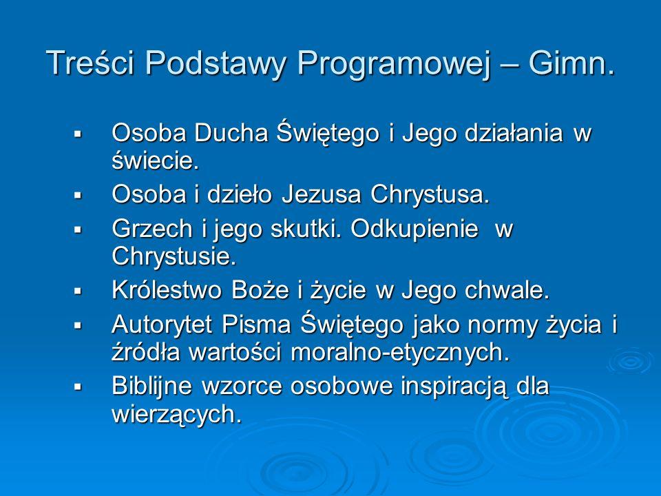Treści Podstawy Programowej – Gimn.