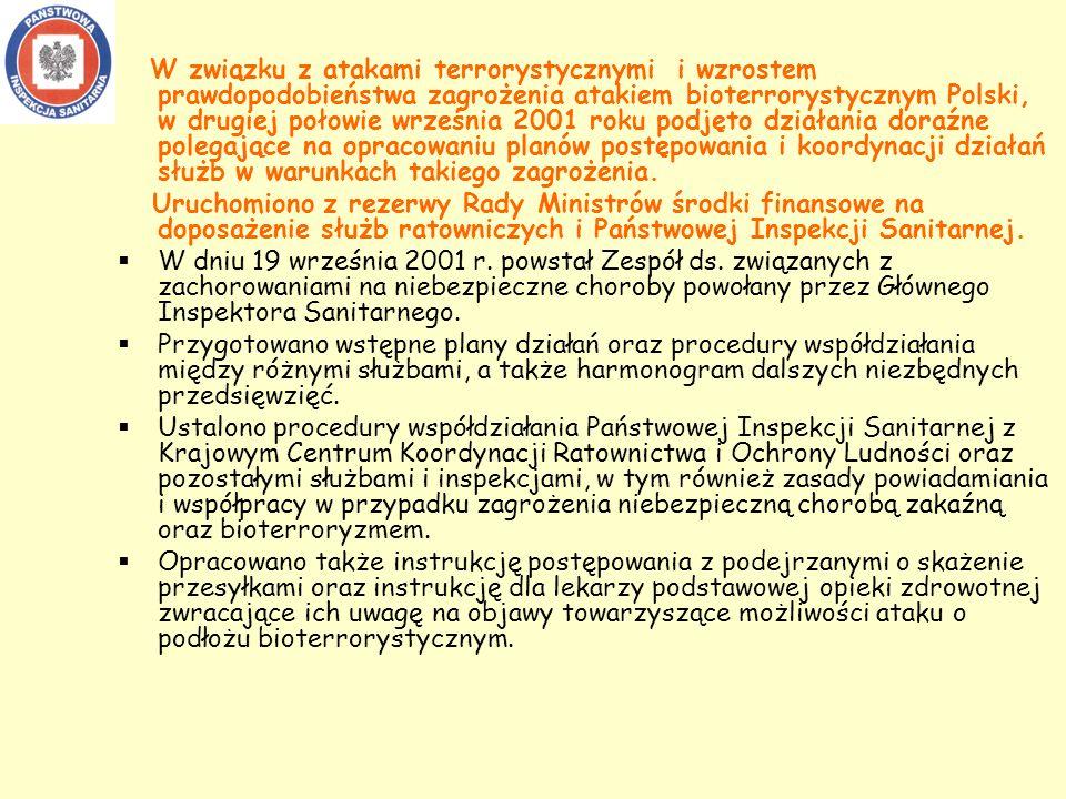 W związku z atakami terrorystycznymi i wzrostem prawdopodobieństwa zagrożenia atakiem bioterrorystycznym Polski, w drugiej połowie września 2001 roku podjęto działania doraźne polegające na opracowaniu planów postępowania i koordynacji działań służb w warunkach takiego zagrożenia.