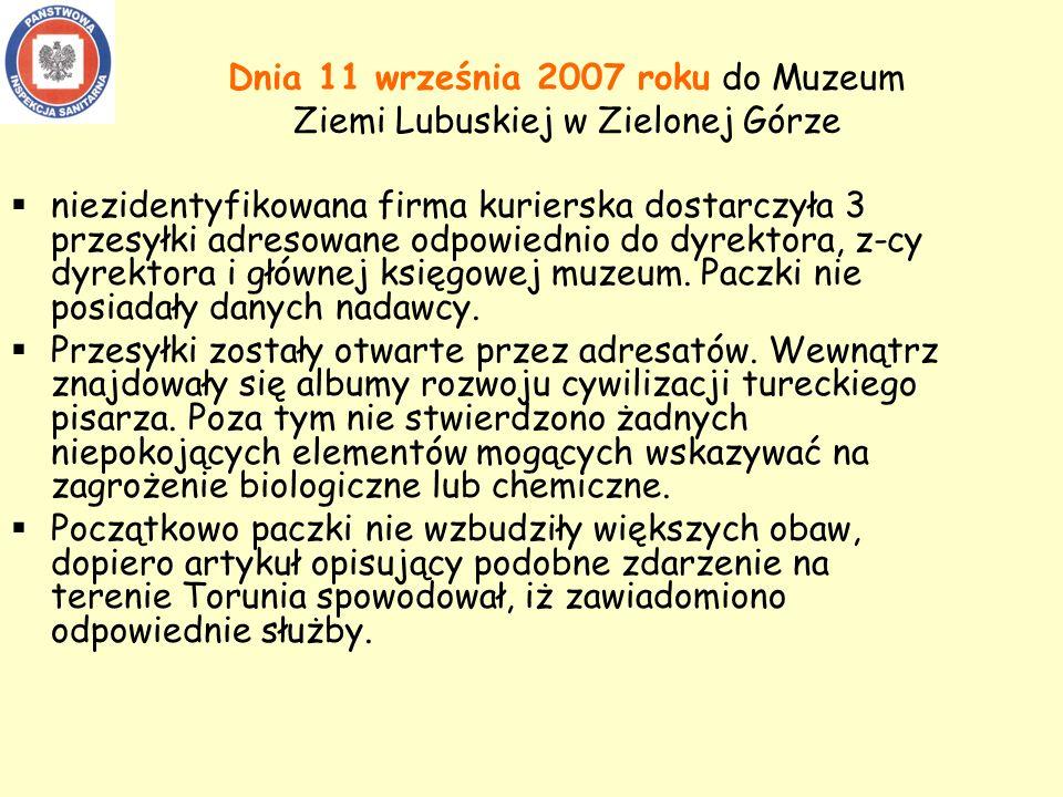 Dnia 11 września 2007 roku do Muzeum Ziemi Lubuskiej w Zielonej Górze