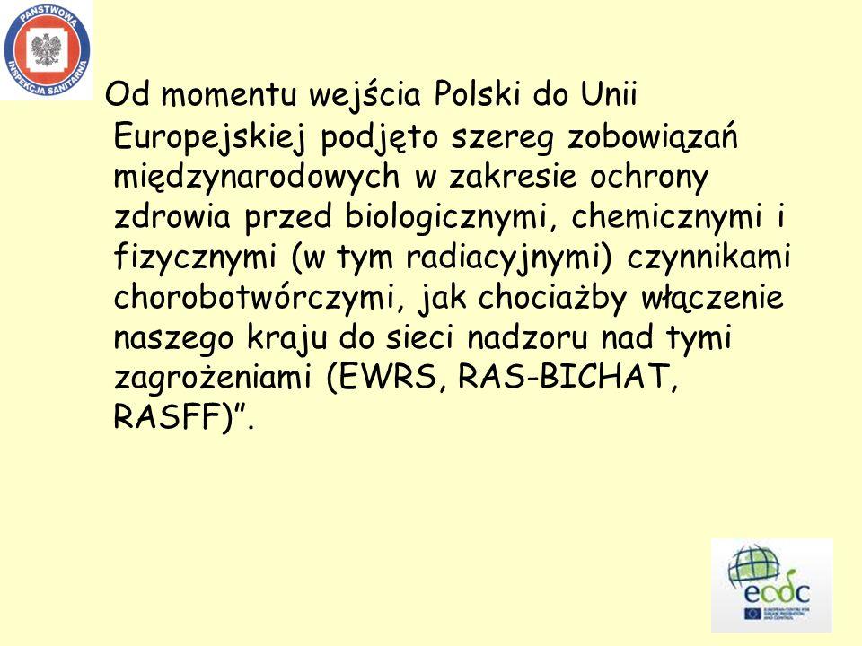 Od momentu wejścia Polski do Unii Europejskiej podjęto szereg zobowiązań międzynarodowych w zakresie ochrony zdrowia przed biologicznymi, chemicznymi i fizycznymi (w tym radiacyjnymi) czynnikami chorobotwórczymi, jak chociażby włączenie naszego kraju do sieci nadzoru nad tymi zagrożeniami (EWRS, RAS-BICHAT, RASFF) .