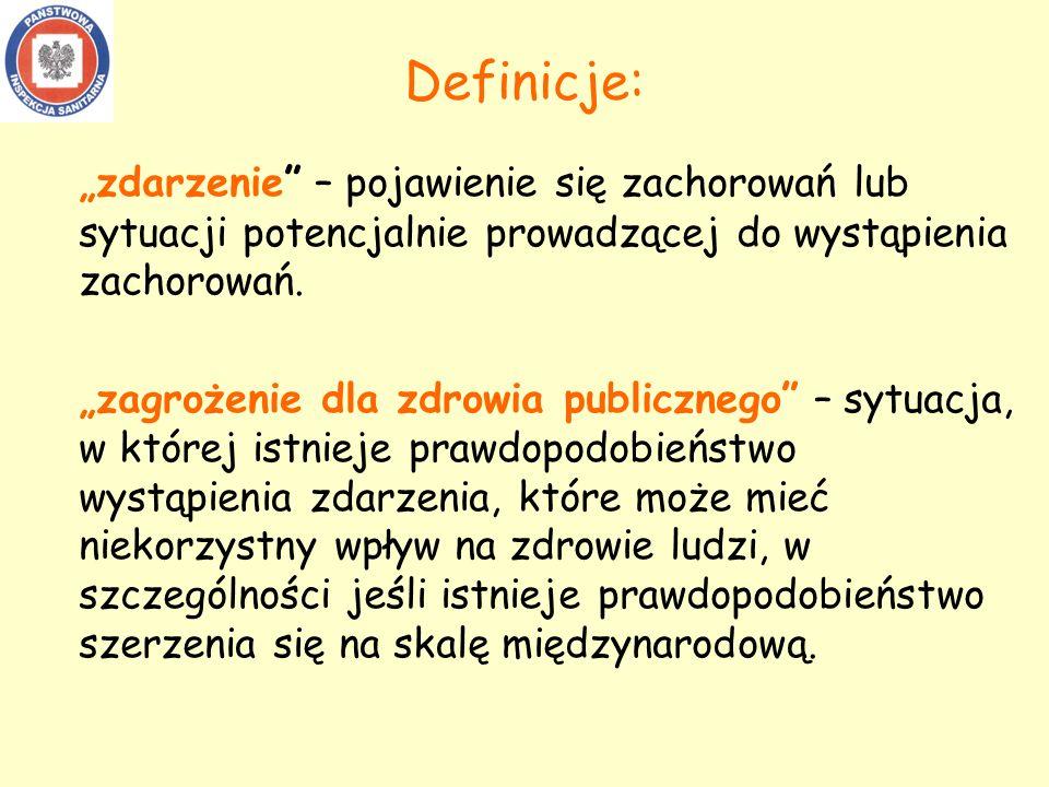 """Definicje: """"zdarzenie – pojawienie się zachorowań lub sytuacji potencjalnie prowadzącej do wystąpienia zachorowań."""