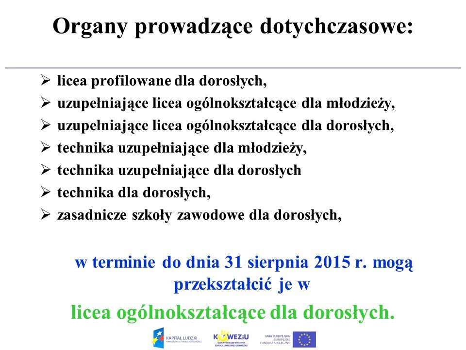 Organy prowadzące dotychczasowe:
