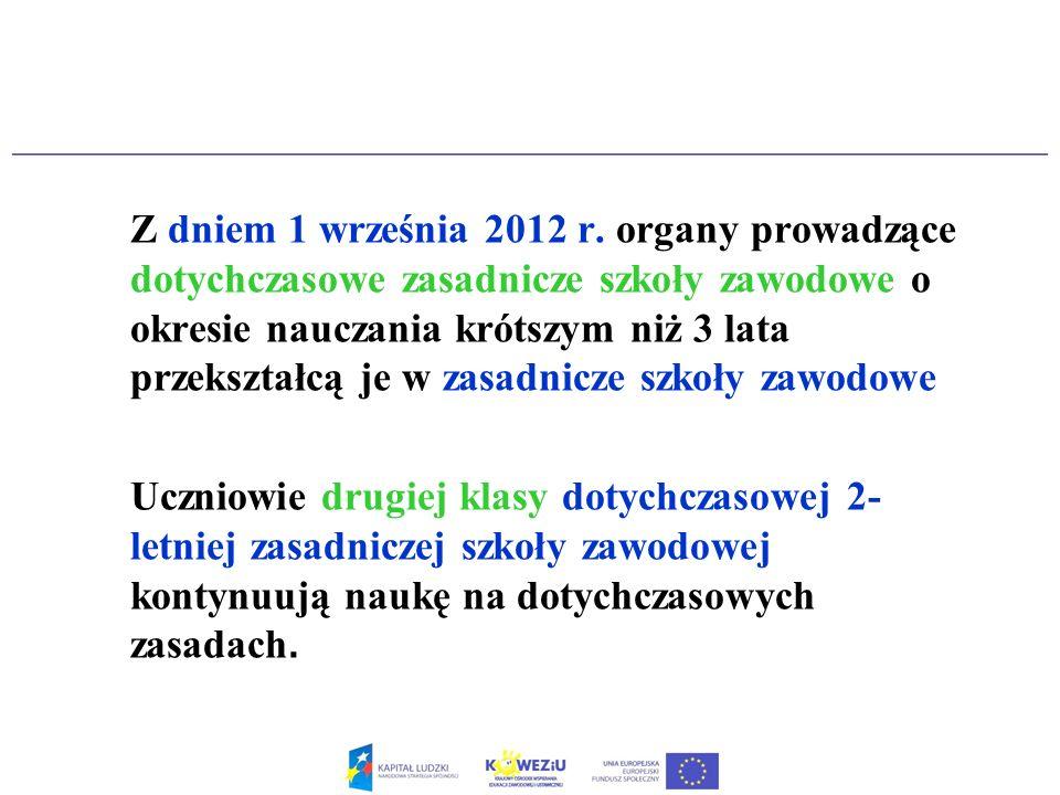 Z dniem 1 września 2012 r. organy prowadzące dotychczasowe zasadnicze szkoły zawodowe o okresie nauczania krótszym niż 3 lata przekształcą je w zasadnicze szkoły zawodowe