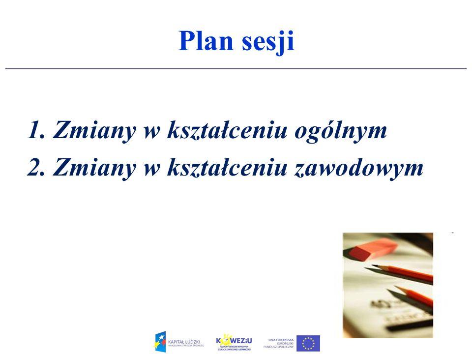 Plan sesji Zmiany w kształceniu ogólnym Zmiany w kształceniu zawodowym