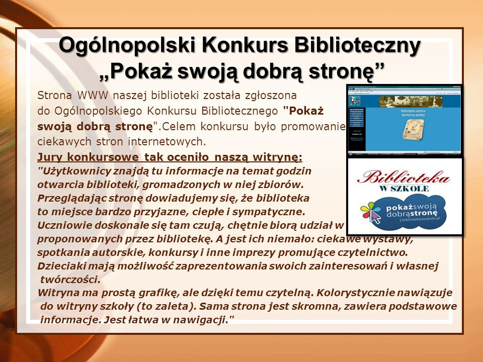 """Ogólnopolski Konkurs Biblioteczny """"Pokaż swoją dobrą stronę"""