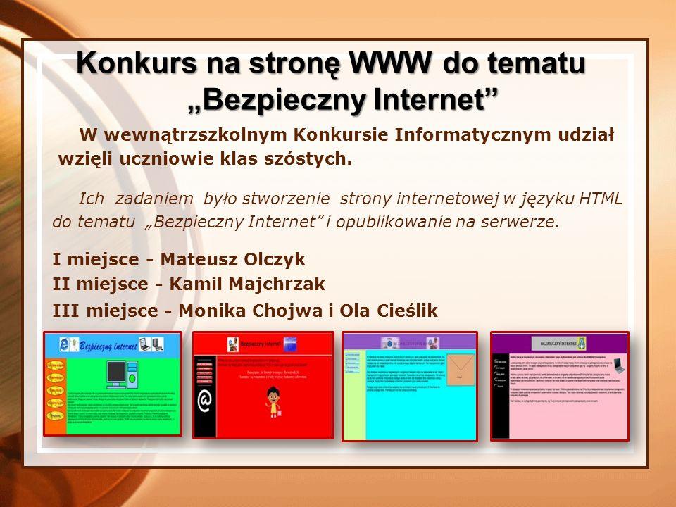 """Konkurs na stronę WWW do tematu """"Bezpieczny Internet"""