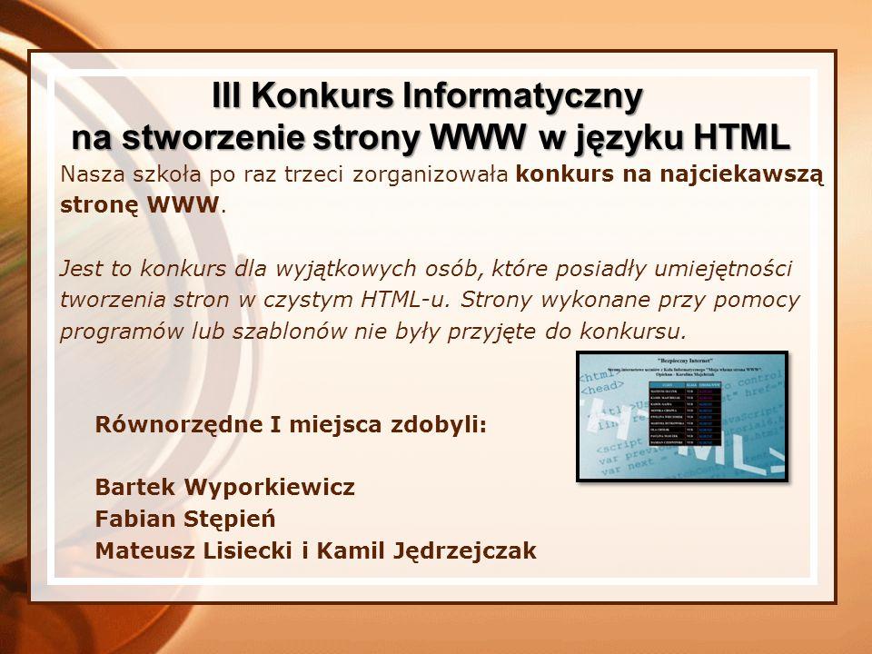 III Konkurs Informatyczny na stworzenie strony WWW w języku HTML