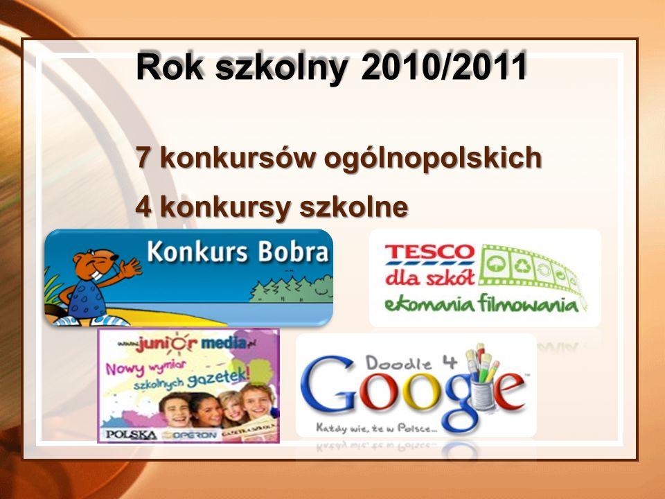 Rok szkolny 2010/2011 7 konkursów ogólnopolskich 4 konkursy szkolne