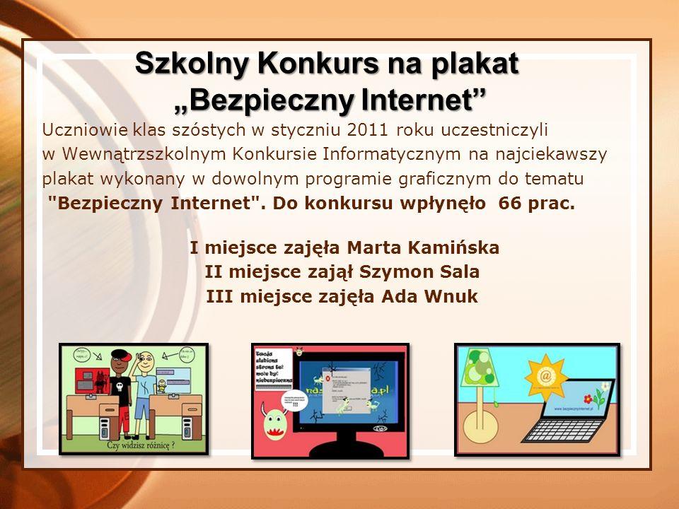 """Szkolny Konkurs na plakat """"Bezpieczny Internet"""
