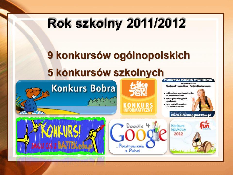 Rok szkolny 2011/2012 9 konkursów ogólnopolskich 5 konkursów szkolnych
