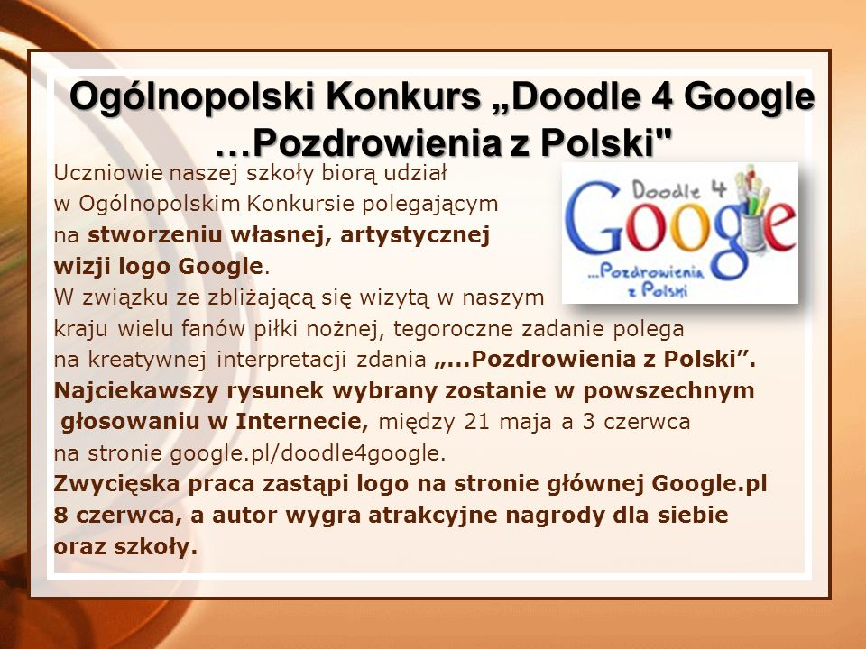 """Ogólnopolski Konkurs """"Doodle 4 Google …Pozdrowienia z Polski"""