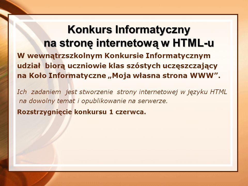 Konkurs Informatyczny na stronę internetową w HTML-u