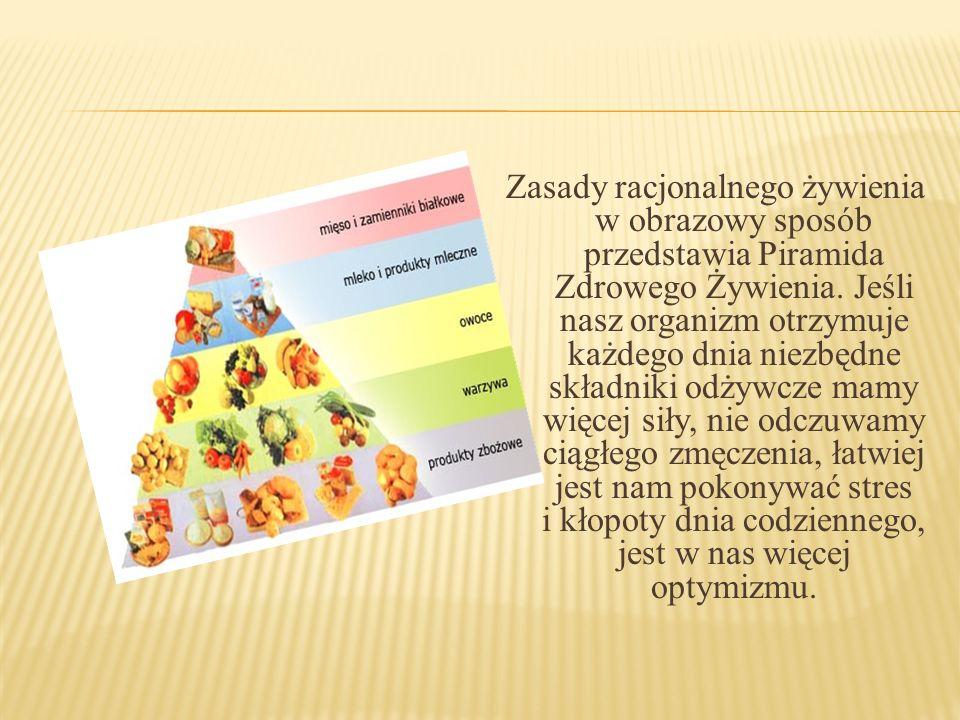 Zasady racjonalnego żywienia w obrazowy sposób przedstawia Piramida Zdrowego Żywienia.