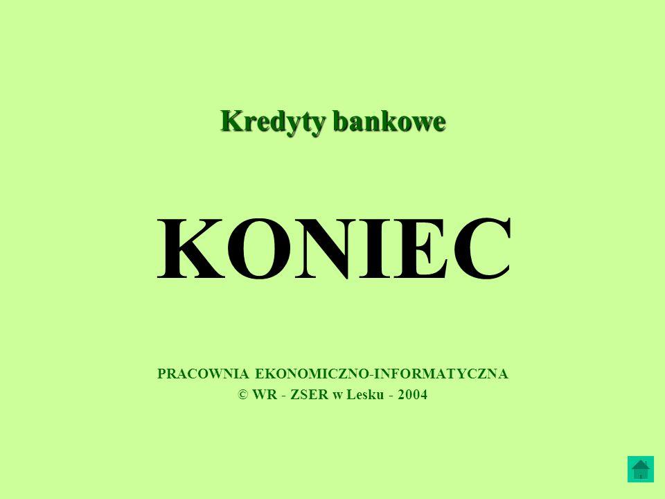 PRACOWNIA EKONOMICZNO-INFORMATYCZNA © WR - ZSER w Lesku - 2004