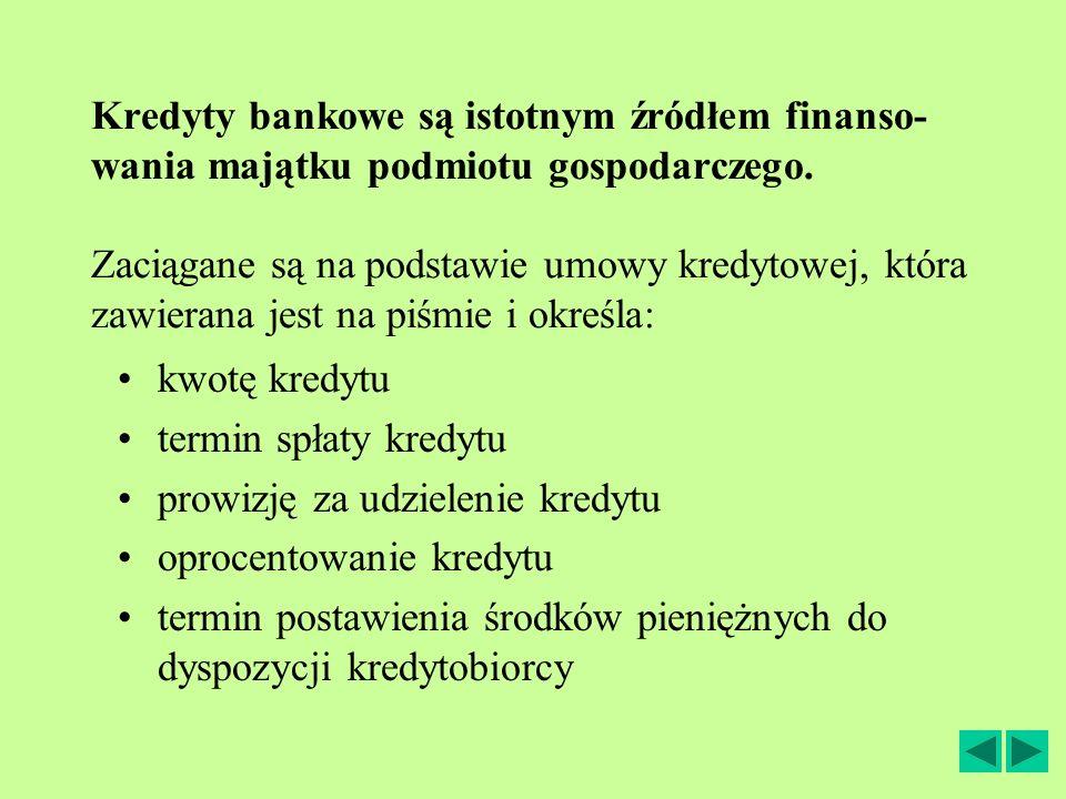 Kredyty bankowe są istotnym źródłem finanso-wania majątku podmiotu gospodarczego. Zaciągane są na podstawie umowy kredytowej, która zawierana jest na piśmie i określa: