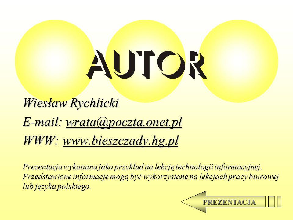 E-mail: wrata@poczta.onet.pl WWW: www.bieszczady.hg.pl