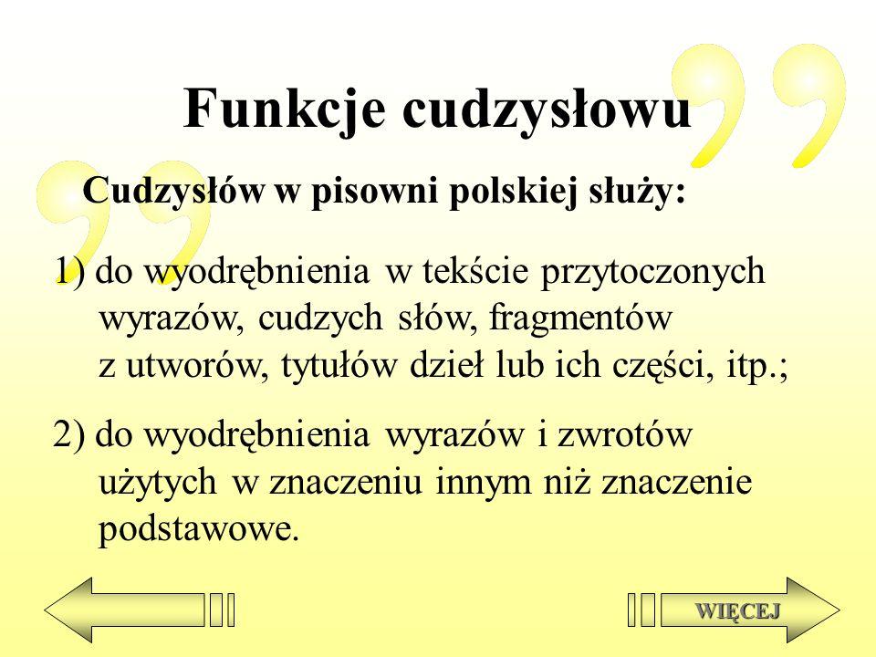 Funkcje cudzysłowu Cudzysłów w pisowni polskiej służy: