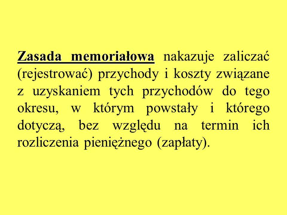 Zasada memoriałowa nakazuje zaliczać (rejestrować) przychody i koszty związane z uzyskaniem tych przychodów do tego okresu, w którym powstały i którego dotyczą, bez względu na termin ich rozliczenia pieniężnego (zapłaty).