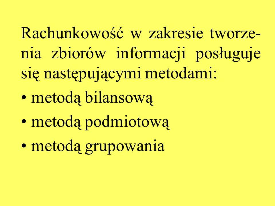 Rachunkowość w zakresie tworze-nia zbiorów informacji posługuje się następującymi metodami: