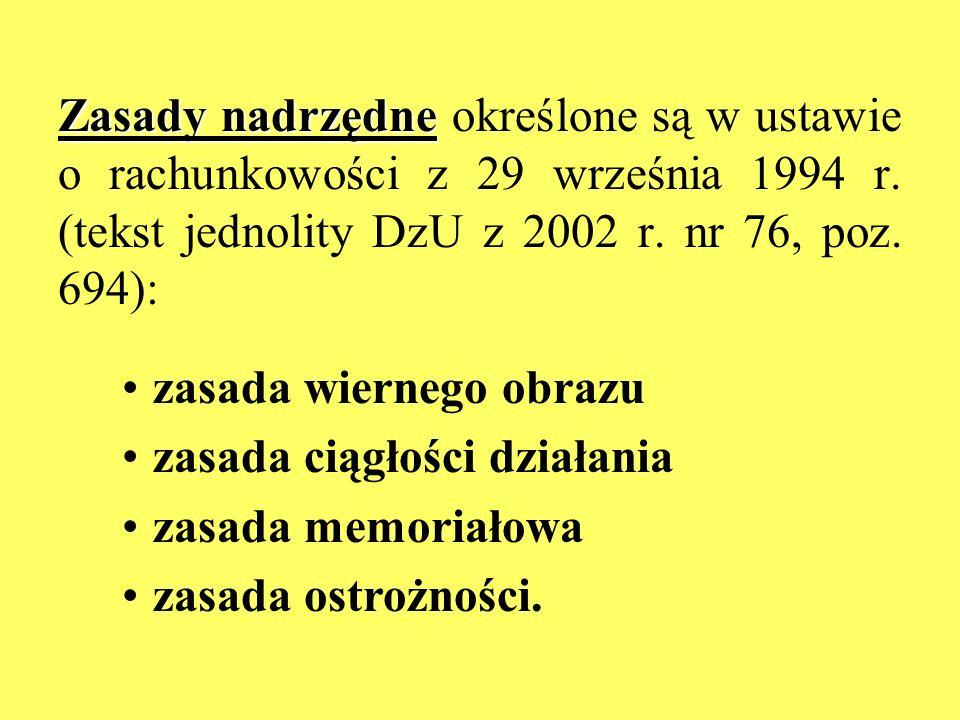 Zasady nadrzędne określone są w ustawie o rachunkowości z 29 września 1994 r. (tekst jednolity DzU z 2002 r. nr 76, poz. 694):