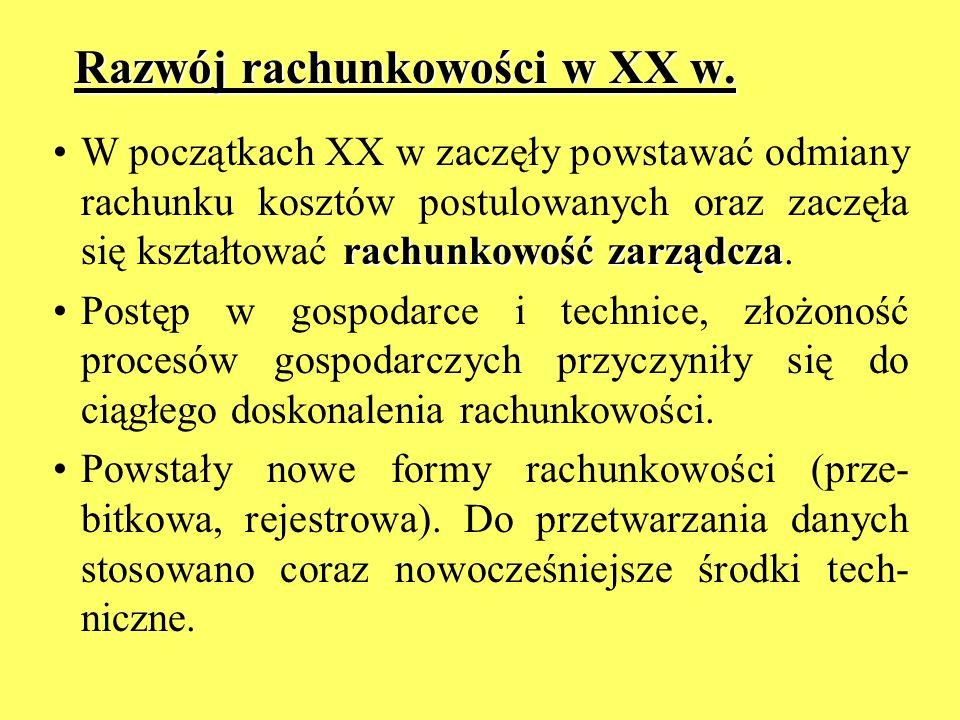 Razwój rachunkowości w XX w.