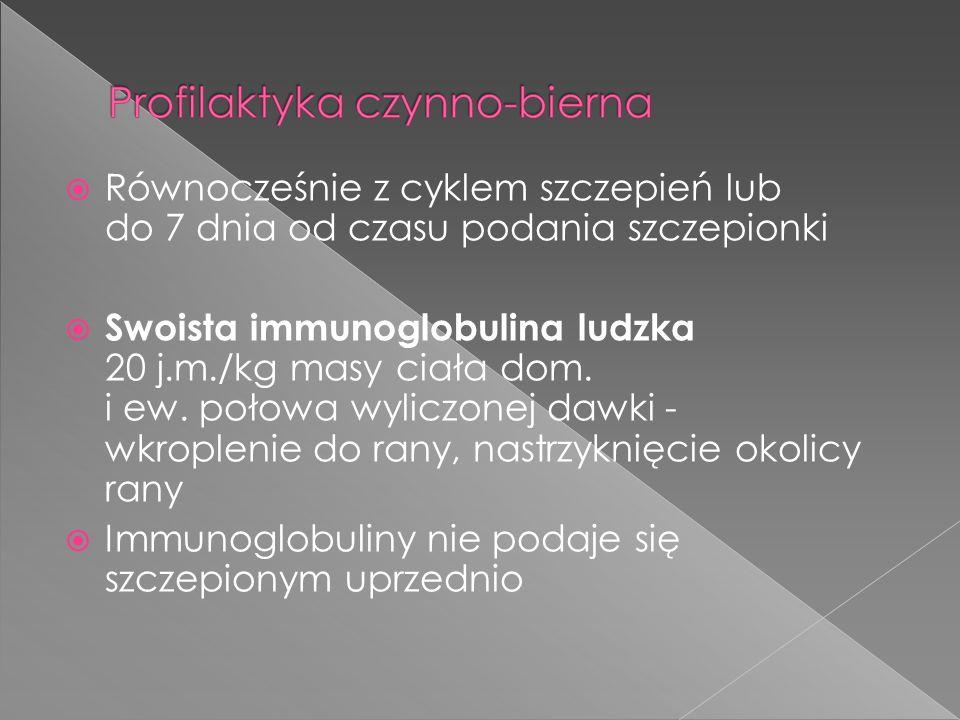 Równocześnie z cyklem szczepień lub do 7 dnia od czasu podania szczepionki