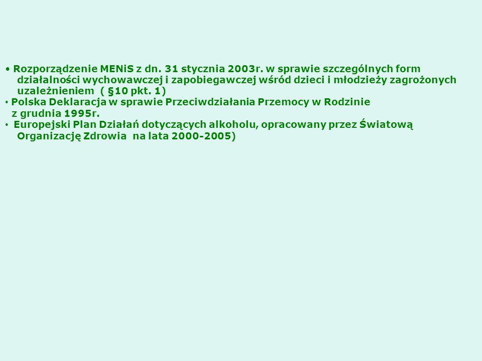 Rozporządzenie MENiS z dn. 31 stycznia 2003r