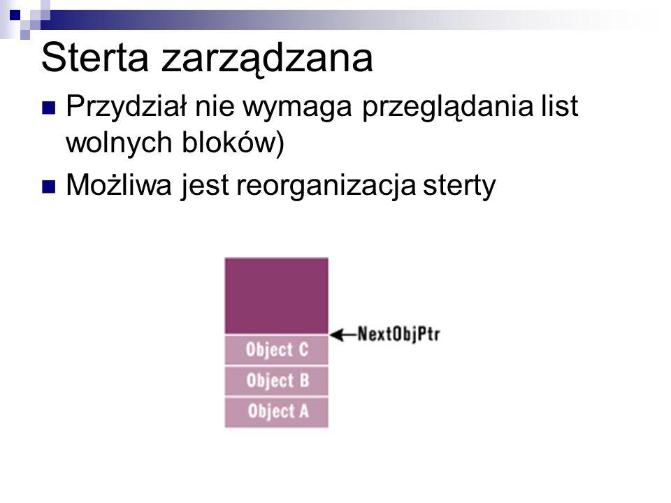 Sterta zarządzana Przydział nie wymaga przeglądania list wolnych bloków) Możliwa jest reorganizacja sterty.