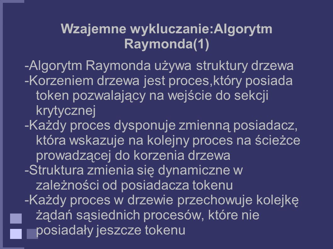 Wzajemne wykluczanie:Algorytm Raymonda(1)