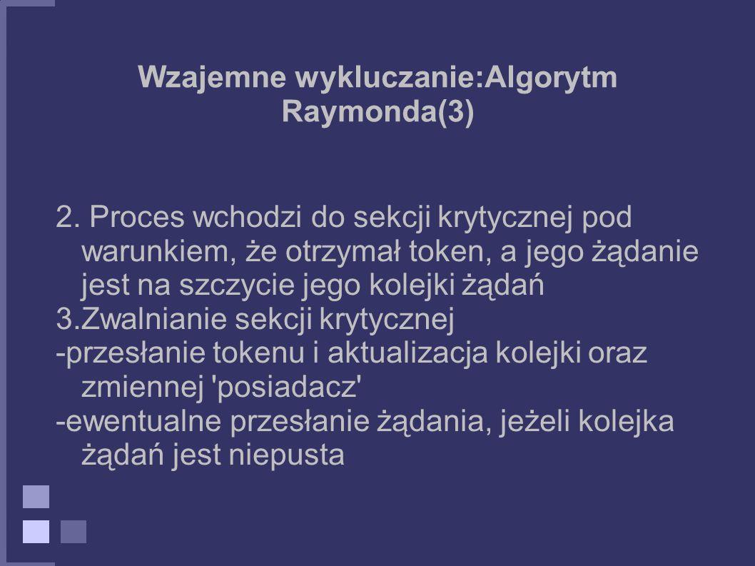 Wzajemne wykluczanie:Algorytm Raymonda(3)