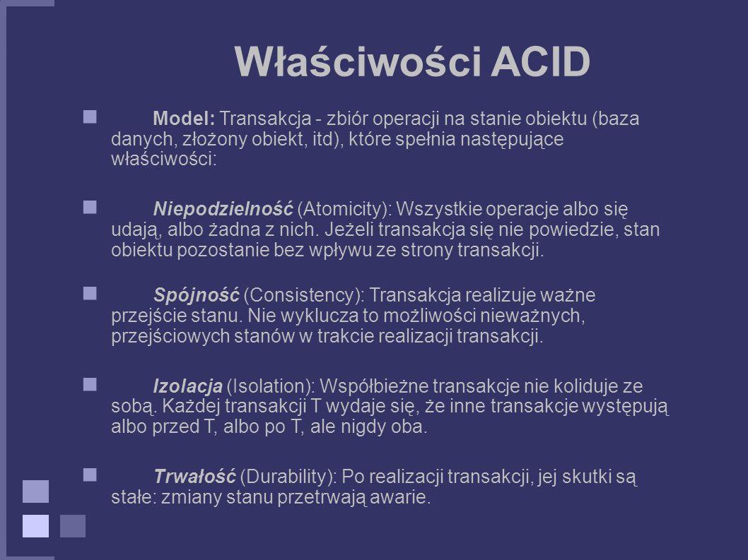 Właściwości ACID Model: Transakcja - zbiór operacji na stanie obiektu (baza danych, złożony obiekt, itd), które spełnia następujące właściwości:
