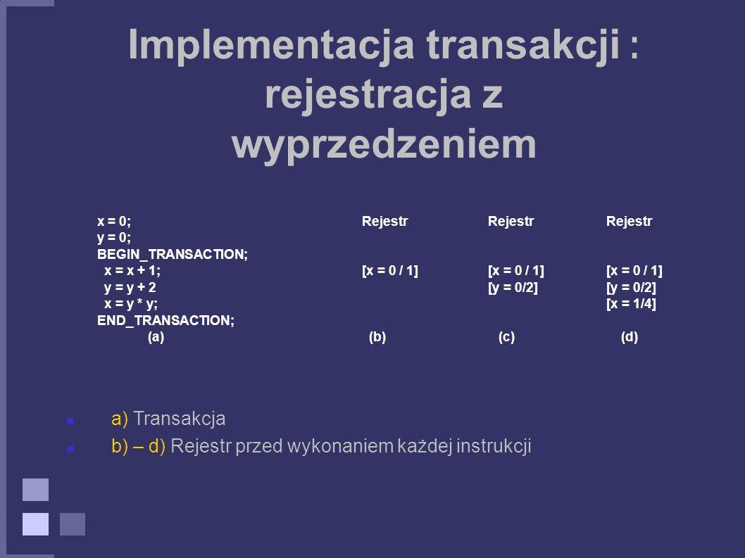 Implementacja transakcji : rejestracja z wyprzedzeniem
