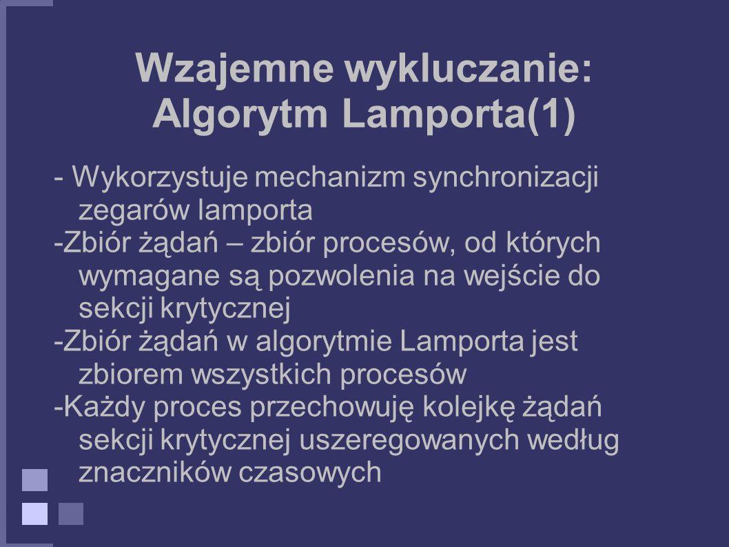 Wzajemne wykluczanie: Algorytm Lamporta(1)