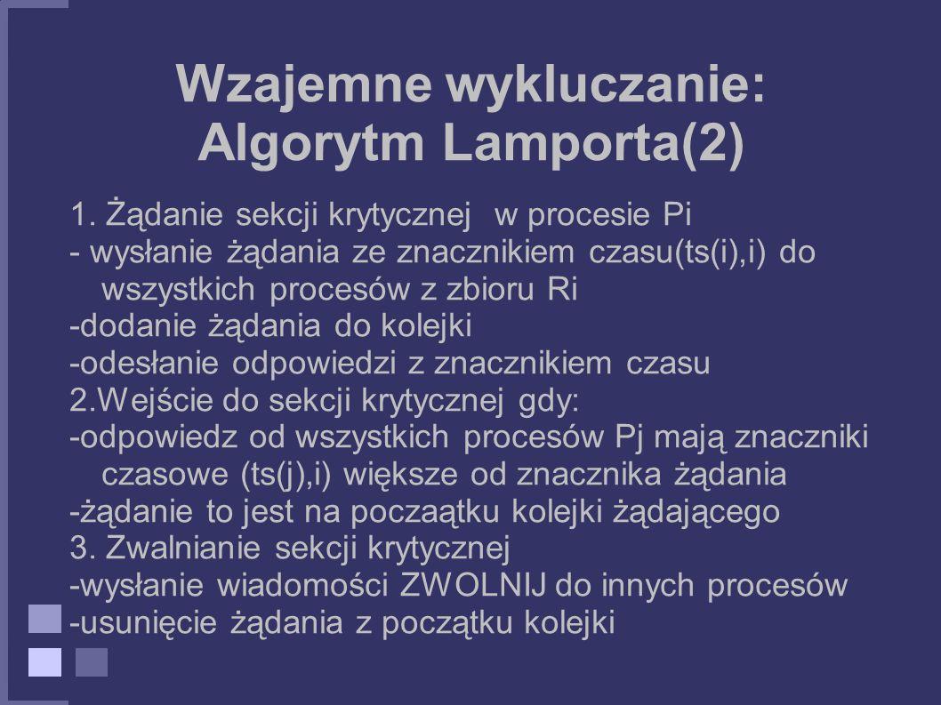 Wzajemne wykluczanie: Algorytm Lamporta(2)